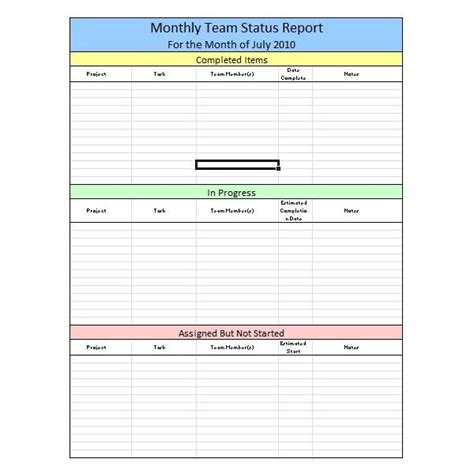 monthly team status report template with table layout