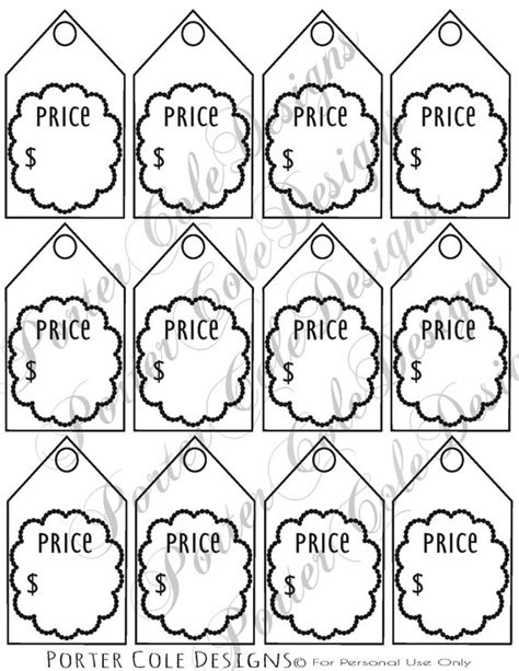 Free Printable Garage Sale Price Tags by Price Tags Printable Digital File By Portercoledesigns On Etsy