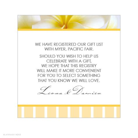 wedding invitation registry wording alannah wedding invitations stationery shop frangipani gift registry card
