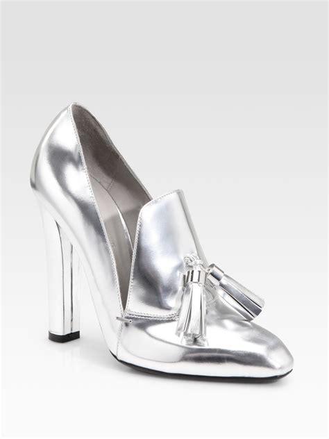 metallic silver high heels wang anais metallic high heel loafers in silver