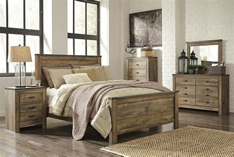 ashley trinell queen rustic  piece bed set furniture  ebay