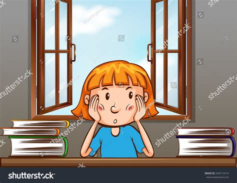 st on left or right girl sitting on the table with books on left and right