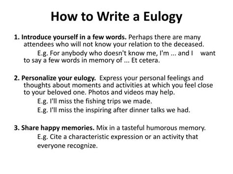 how to write a eulogy template ppt what is a eulogy powerpoint presentation id 2498721