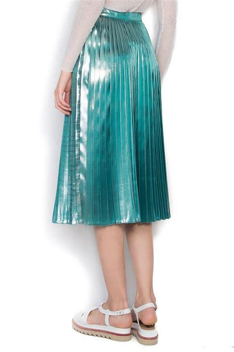 metallic lame metallic lam 233 pleated skirt midi skirts made to measure