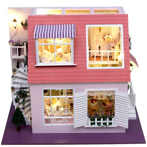 unique doll houses bay of angels diy wooden dollhouse miniature kit with led light dolls dust cover unique big