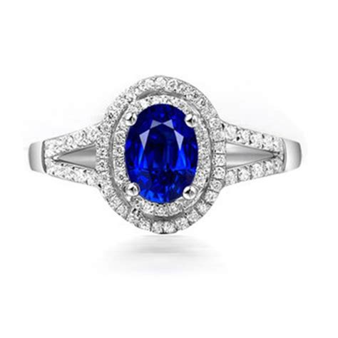 blue sapphire oval cut 2 05ct treasurion com 2 carat oval cut blue sapphire and diamond halo engagement