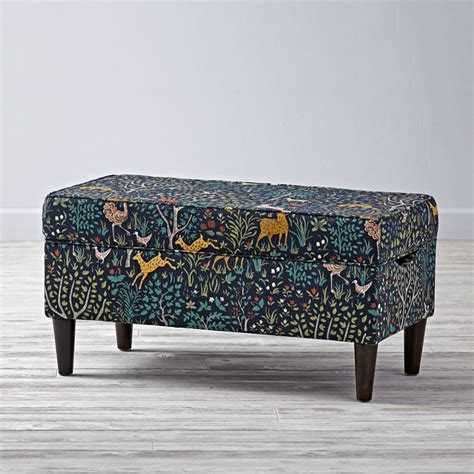 upholstered storage bench folkland admiral the land of nod