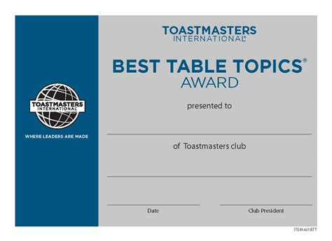 toastmasters table topics tips best table topics 174 certificate mini