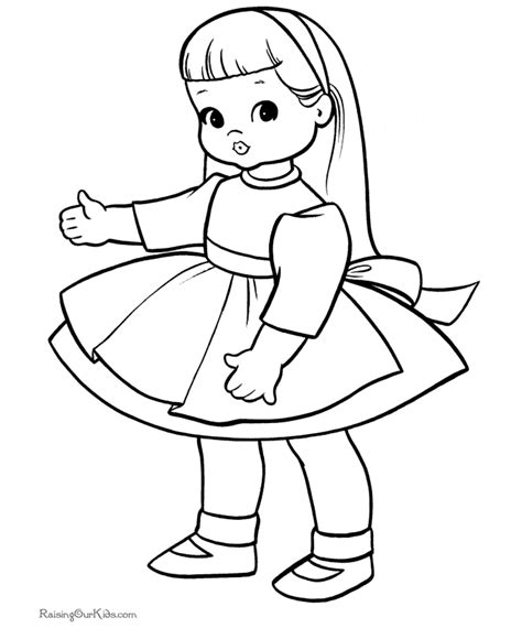 Dolls Coloring Pages free doll coloring sheets