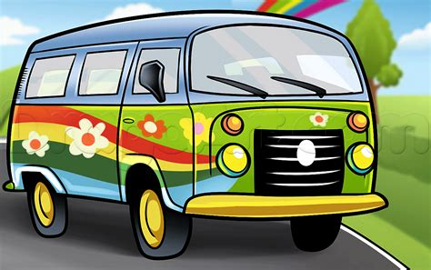 How To Draw A Hippie Van Step By Step Trucks