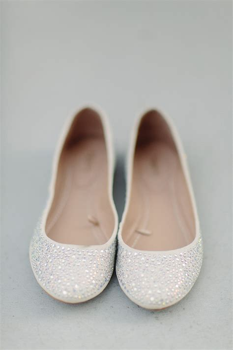 ballet flats wedding shoes sparkly white   OneWed.com