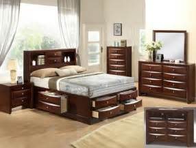 Bedroom Sets With Storage Emily Storage Espresso Bedroom Set