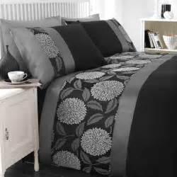 Black And Grey Duvet Set Mei Black Ink Grey Silver Jacquard Floral Luxury Duvet