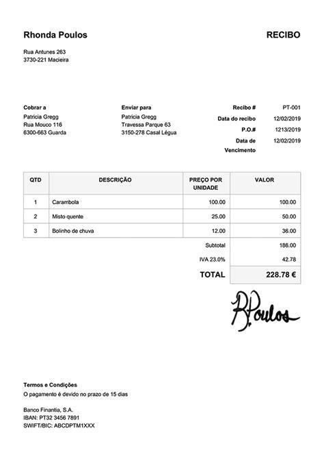 100 Modelos de recibo grátis | Imprima e envie PDF | Baixe