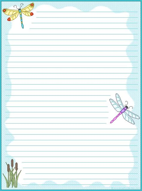printable stationary borders dragonfly stationary free printables printables