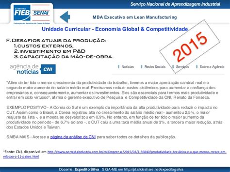 Mba And Manufacturing by Economia Global Competitividade Mba Lean Manufacturing