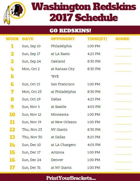 Redskins Home Schedule by Washington Redskins Schedule Image Mag