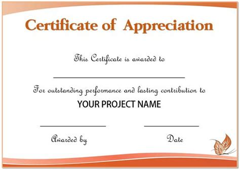 certificate of recognition word template 50 professional free certificate of appreciation