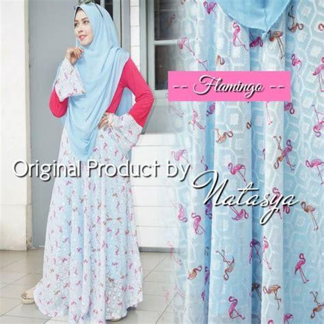 Gamis Motif Soft Color 03 baju muslim kombinasi flaminggo syari gamis modern