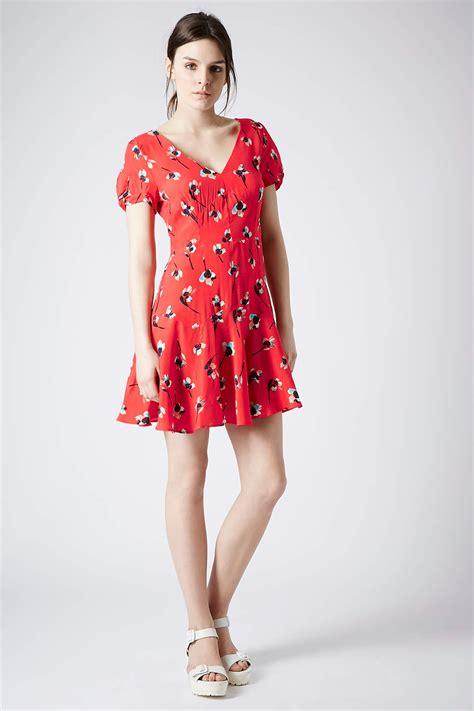 Top Shoo lyst topshop painted floral dress in