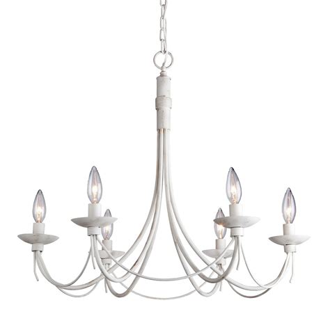 Iron Chandelier With Candles Shop Artcraft Lighting Wrought Iron 26 In 6 Light Antique White Wrought Iron Candle Chandelier