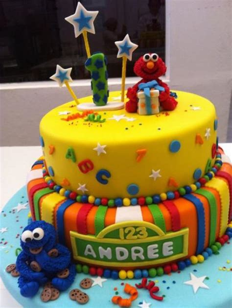 Two Tier Baby Elmo And Babyokie Monster Cake Jpg