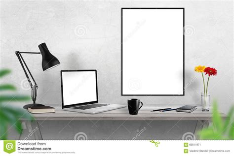 Posters For Office Desk Laptop And Poster Frame On Office Desk Coffee Cactus Notebook L On Table Stock Photo