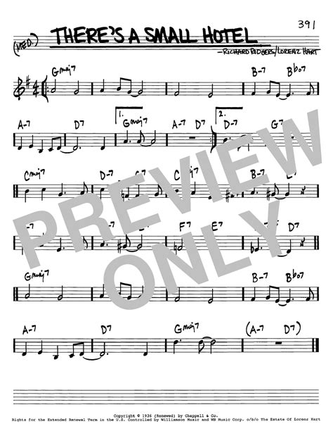 There's A Small Hotel sheet music by Rodgers & Hart (Real