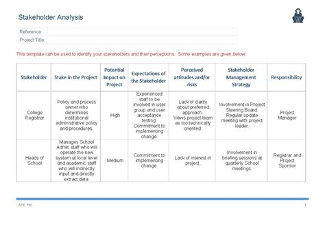 stakeholder document template stakeholder analysis template ape project management