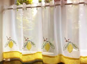 Cafe Kitchen Curtains Yellow Lemon Voile Cafe Net Curtain Panel Kitchen Curtains Many Sizes Ebay
