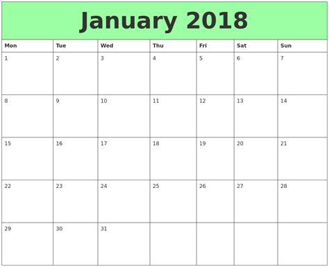 printable monthly calendar monday start january 2018 printable calendars