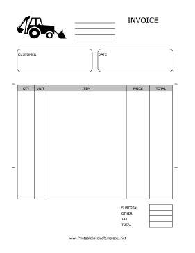excavation invoice template