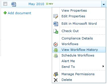 sharepoint 2010 workflow history viewing workflow history