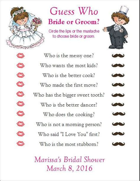 24 Personalized GUESS WHO Bride or Groom Bridal Shower by