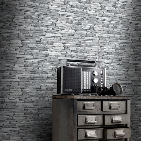 black and white feature wallpaper brick slate wood effect wallpaper rustic red silver