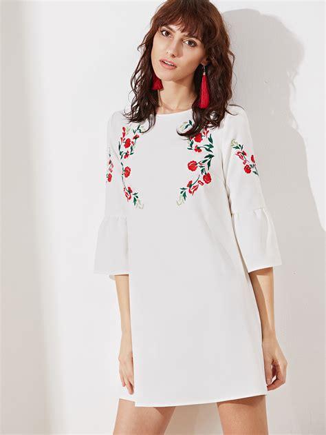 Gp Bellsleeve Dress Series 2 bell sleeve symmetric embroidered tunic dress shein sheinside