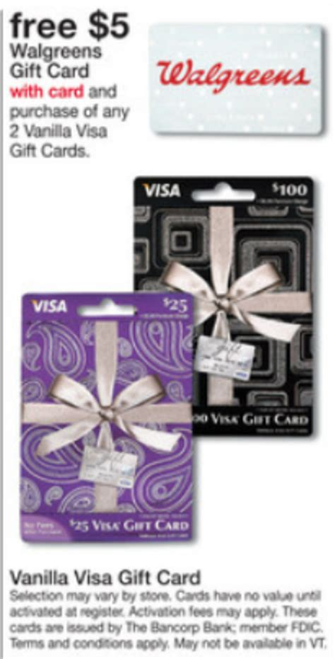 Visa Gift Cards Walgreens - free 5 walgreens gift card with purchase of 2 vanilla visa gift cards frequent miler