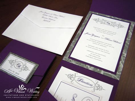 Wedding Invitations by Purple And Silver Wedding Invitation A Vibrant Wedding