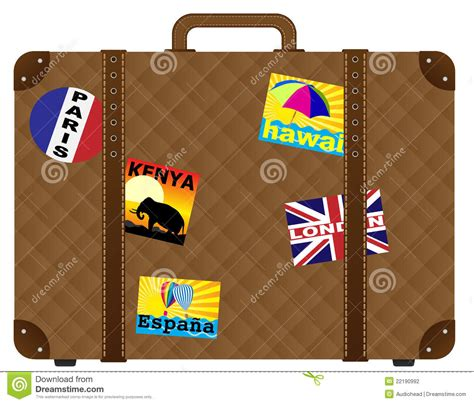 Bunte Kofferaufkleber by Vector Suitcase With Stickers Stock Photography Image