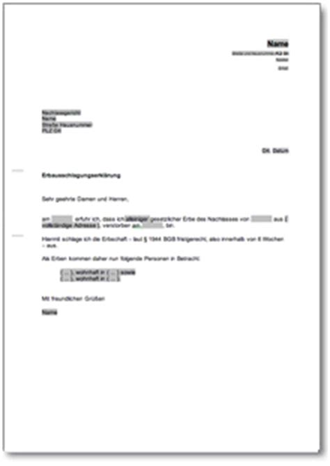 Musterbrief Widerspruch Rentenversicherung Ausschlagung Einer Erbschaft De Musterbrief