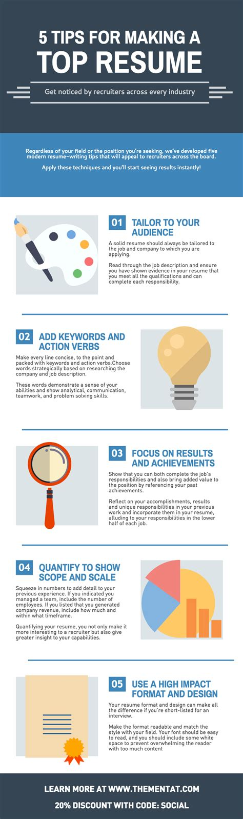 5 Resume Tips by 5 Tips For A Top Resume Infographic