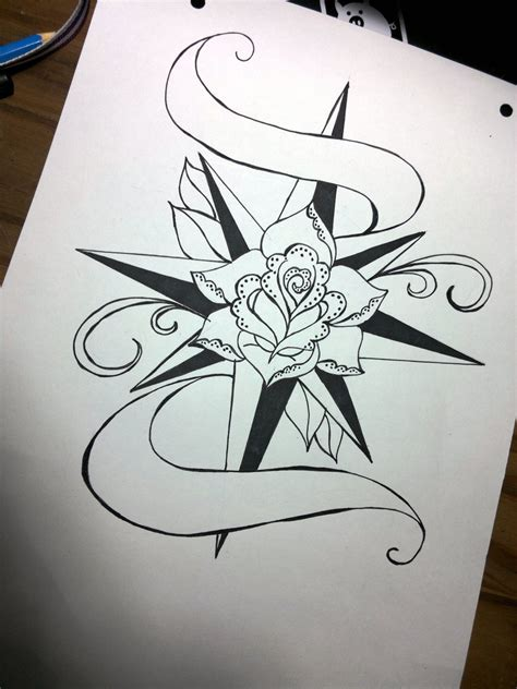 old school roses tattoo designs compass www imgkid the image kid
