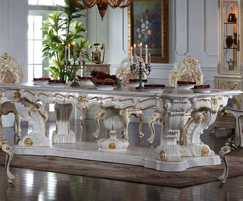 5 Piece Dining Room Sets by Italian Baroque Style Hand Carved Luxury Table Sets