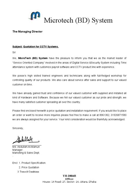 Cctv Installation Cover Letter Quotation For Cctv 2