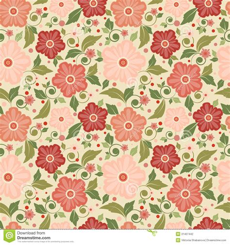 Decorated Paper Designs seamless floral pattern with geometric stylized flowers stock vector image 31407442
