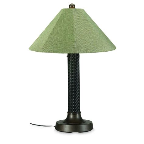 Outdoor Light Shade Patio Living Concepts Bahama Weave 34 In Mahogany Outdoor Table L With Basil Linen