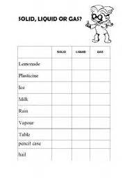 english worksheets solid liquid or gas