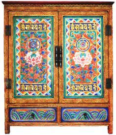 Cupboard Syllable Painted Tibetan Cabinet On Painted