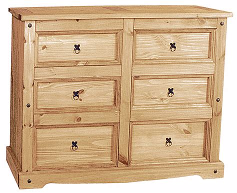 extra large pine chest of drawers corona chest 6 draw extra wide