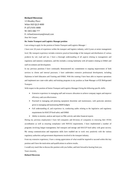 Logistics Administrator Cover Letter by Transport And Logistics Manager Cover Letter Sles And Templates
